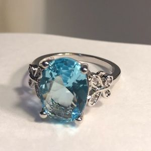 Blue topaz, Butterfly 925 Stamped ring
